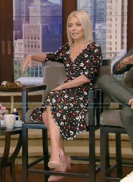 Kelly's black floral wrap dress on Live with Kelly and Ryan