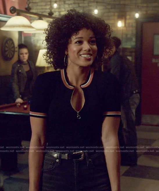 Maia's black half zip front top on Shadowhunters