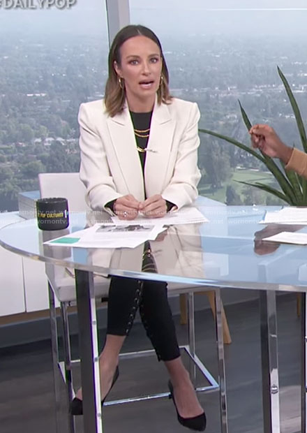 Catt's black lace-up pants on E! News Daily Pop