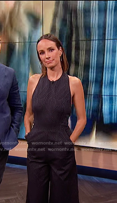 Catt's black leaf print jumpsuit on E! News