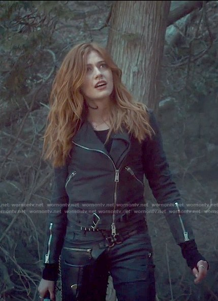 Clary's Black suede moto jacket on Shadowhunters
