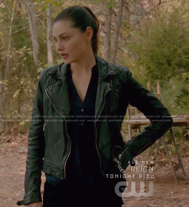 Hayley's black moto jacket on The Originals