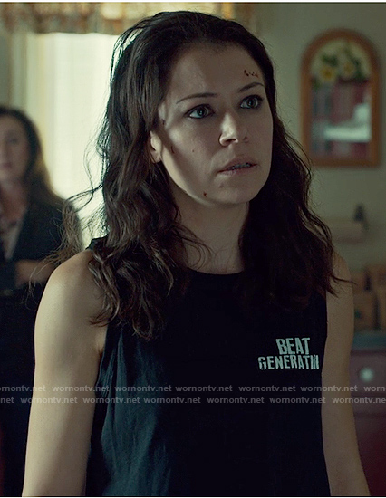 Sarah's black muscle tank top on Orphan Black