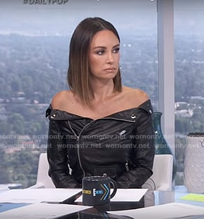 Catt's black off-shoulder moto jacket on E! News Daily Pop