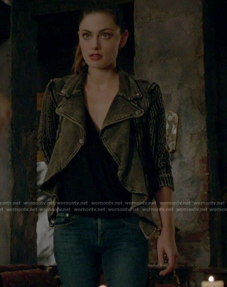Hayley's black sweater moto jacket on The Originals