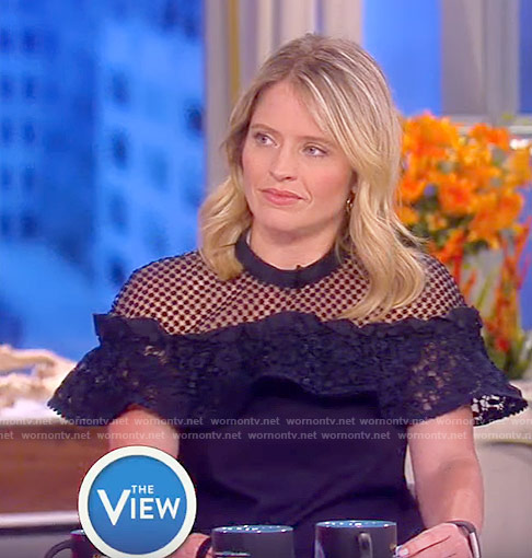 Sara's navy ruffled lace top on The View