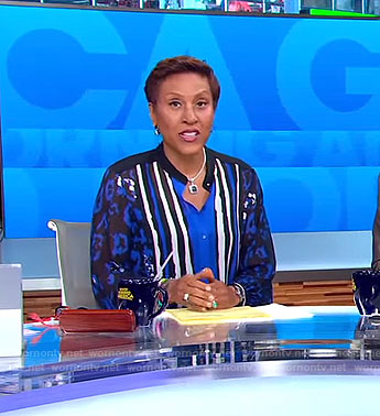 Robin's blue and black mixed print blouse on Good Morning America