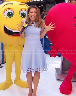 Ginger's blue cutout sleeveless dress on Good Morning America