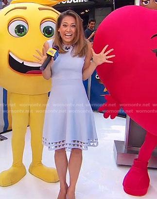 Ginger's blue cutout sleeveless dress on Good Morning America