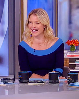 Sara's blue flare dress on The View