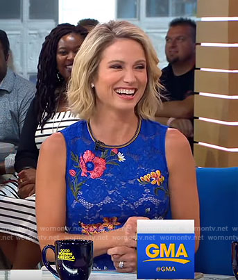 Amy's blue floral embroidered lace dress on Good Morning America