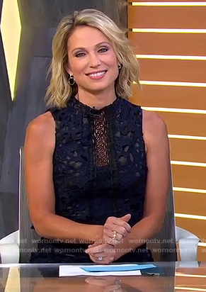 Amy's navy lace jumpsuit on Good Morning America