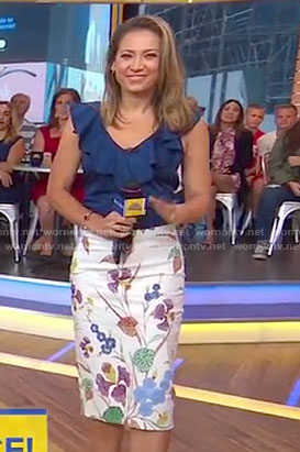 Ginger's blue ruffled v-neck top and floral skit on Good Morning America