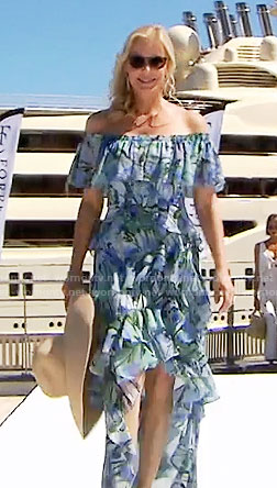 Brooke's blue floral off-shoulder high-low maxi dress in Monaco on The Bold and the Beautiful