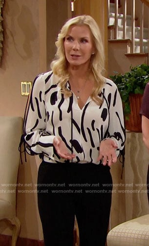 Brooke's black and white printed blouse on The Bold and the Beautiful