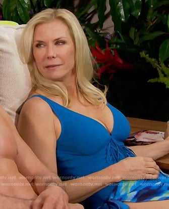 Brooke's blue fringed swimsuit on The Bold and the Beautiful