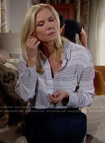 Brooke's striped button down shirt on The Bold and the Beautiful
