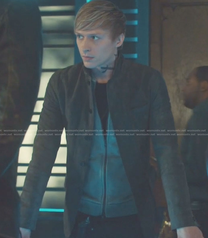 Sebastian's brown button front jacket on Shadowhunters