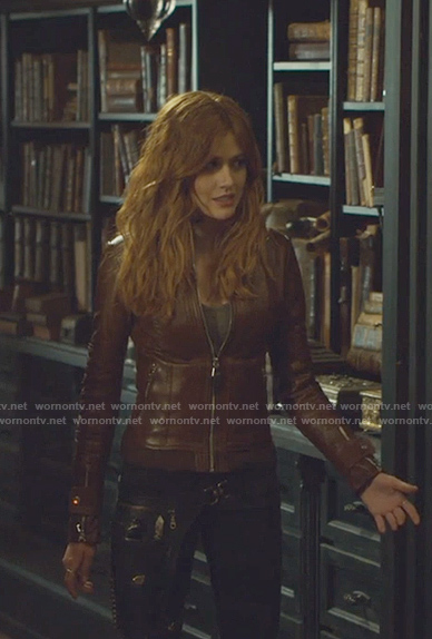 Clary's brown leather jacket on Shadowhunters
