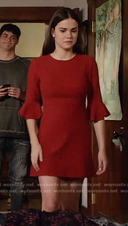 Callie's red bell sleeve dress on The Fosters