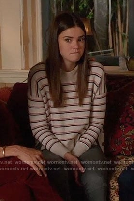 Callie's striped sweater with side buttons on The Fosters