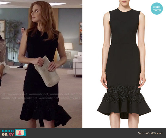Carolina Herrera Embellished Flounce-Hem Dress worn by Sarah Rafferty on Suits