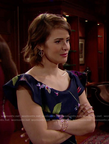 Caroline's floral ruffled top on The Bold and the Beautiful