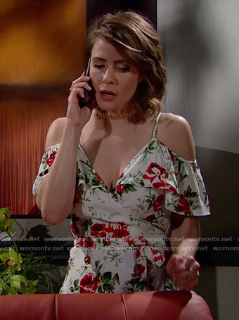 Caroline's rose print wrap top on The Bold and the Beautiful