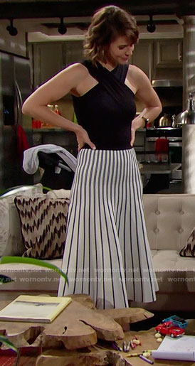 Caroline's striped midi skirt and black cross-neck top on The Bold and the Beautiful