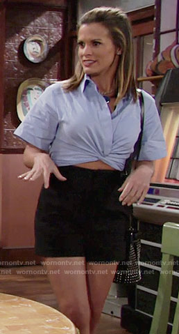 Chelsea's blue cropped shirt on The Young and the Restless