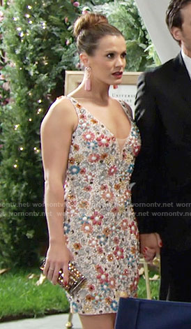 Chelsea's floral embellished dress on The Young and the Restless
