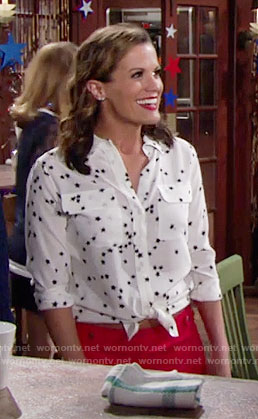 Chelsea's white star print shirt and red shorts on The Young and the Restless
