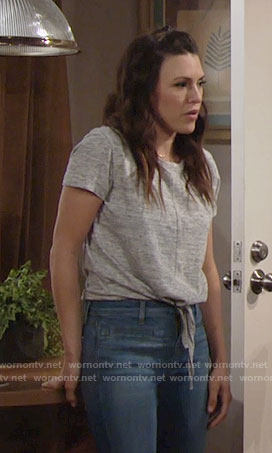 Chloe's grey tie-front tee on The Young and the Restless