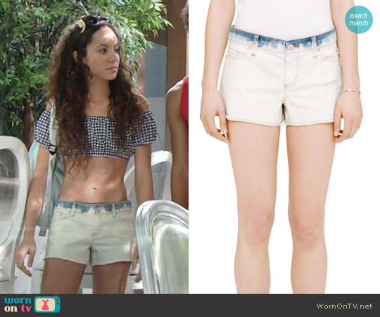 Club Monaco Julia Distressed Denim Shorts worn by Mattie Ashby on The Young & the Restless