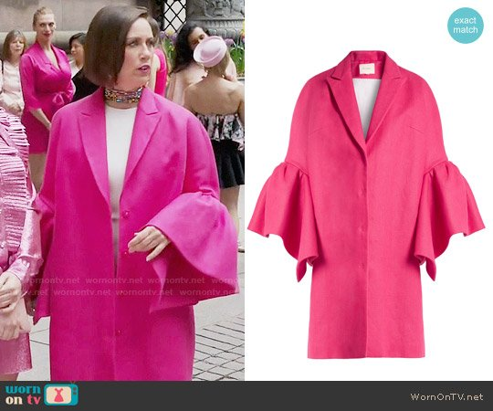Delpozo Fluted-sleeved Linen Coat worn by Miriam Shor on Younger