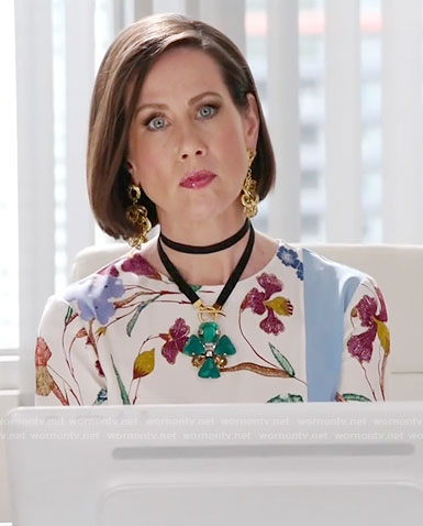 Diana's floral blouse on Younger