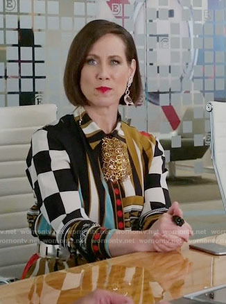 Diana's geometric print shirtdress on Younger