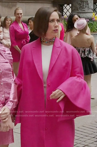 Diana's pink bell-sleeve coat on Younger