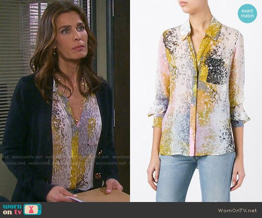 Diane von Furstenberg Abstract Print Shirt worn by Kristian Alfonso on Days of our Lives