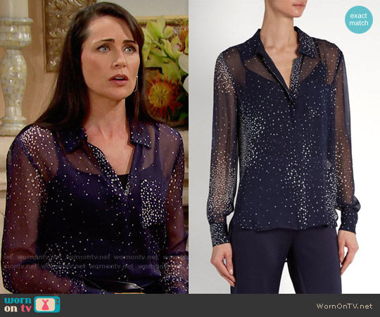 Diane von Furstenberg Dot Print Silk Shirt worn by Rena Sofer on The Bold & the Beautiful