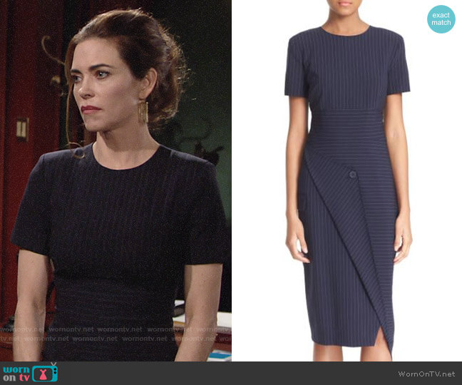 DKNY Pinstripe Asymmetrical Dress worn by Amelia Heinle on The Young & the Restless