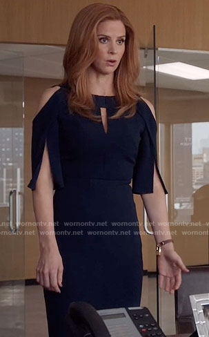 Donna's navy dress with cutout shoulders on Suits