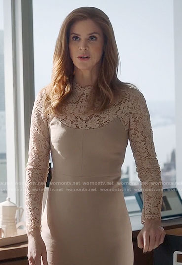 Donna's beige lace dress on Suits