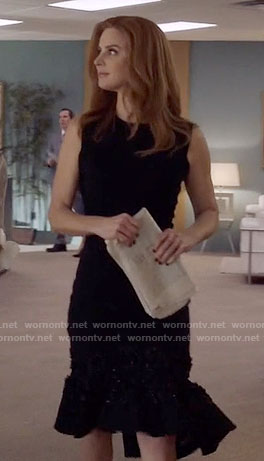 Donna's black flared hem dress on Suits