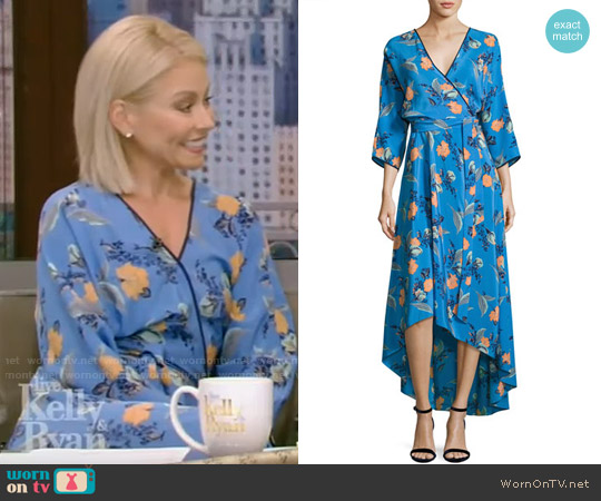 Blue Silk Floral Asymmetric Wrap dress by Diane von Furstenberg worn by Kelly Ripa on Live with Kelly & Ryan