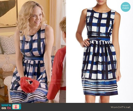 Eliza J Sleeveless Windowpane Fit & Flare Dress worn by Heather Flynn-Kellogg (Fiona Gubelmann) on Daytime Divas