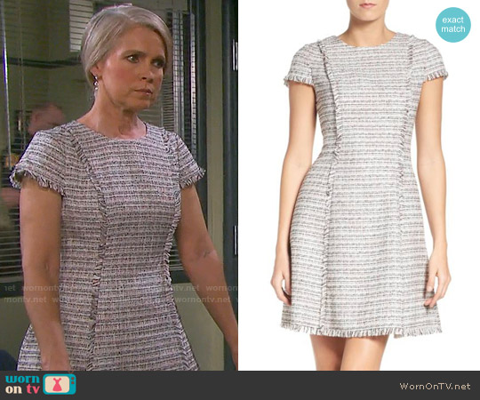 Eliza J Tweed Fit & Flare Dress worn by Melissa Reeves on Days of our Lives