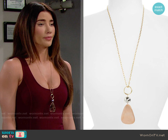 Elizabeth & James Tulum Pendant Necklace worn by Jacqueline MacInnes Wood on The Bold & the Beautiful