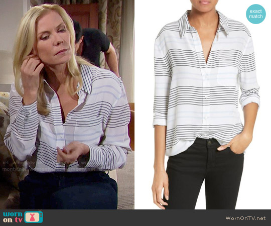 Equipment Reese Striped Shirt worn by Katherine Kelly Lang on The Bold & the Beautiful