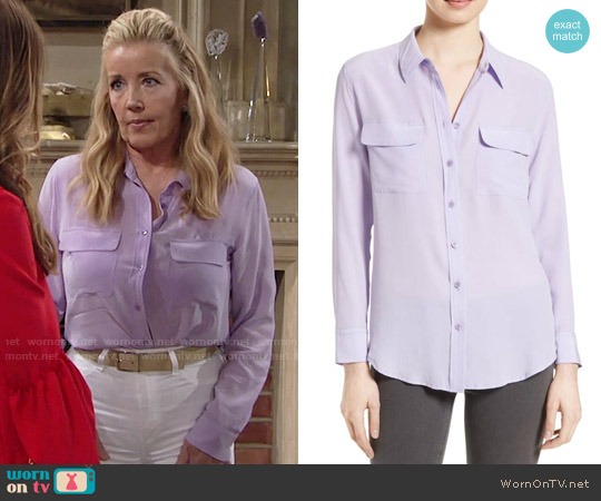 Equipment Slim Signature Silk Shirt in Wisteria worn by Melody Thomas-Scott on The Young & the Restless